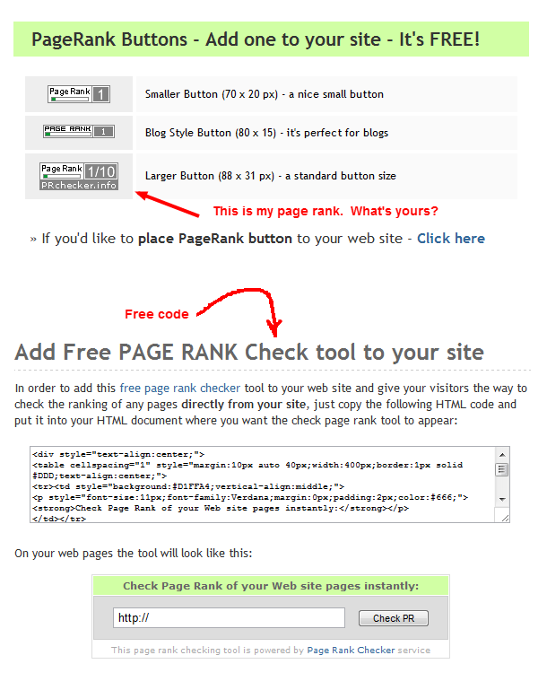 Screen shot of PageRank Checker page