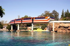 Photo of Disneyland monorail passing over submarine