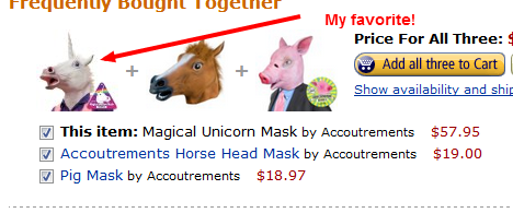 photo of unicorn, horse and pig masks