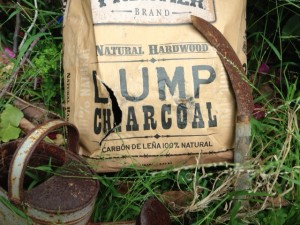 Photo of natural charcoal or biochar for gardening