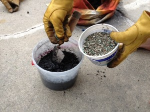Photo of gardening charcoal with fertilizer added