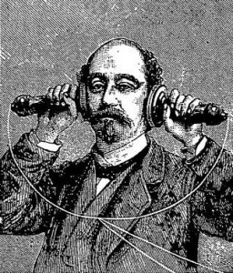 Woodcut of a man with two telephone receivers for failed exercise machines