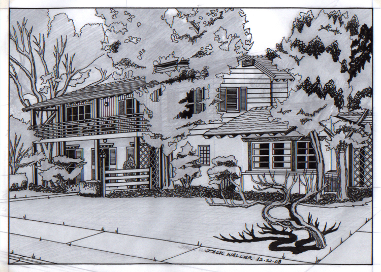 Drawing of a house using a Rapidograph